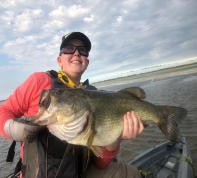 "25.25"" 10.75 lb bass caught by 13 yr old from kayak"